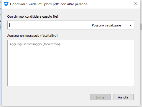 Dropbox condividi permessi