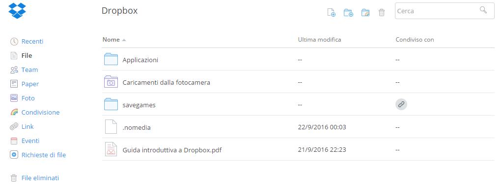 Dropbox sito web