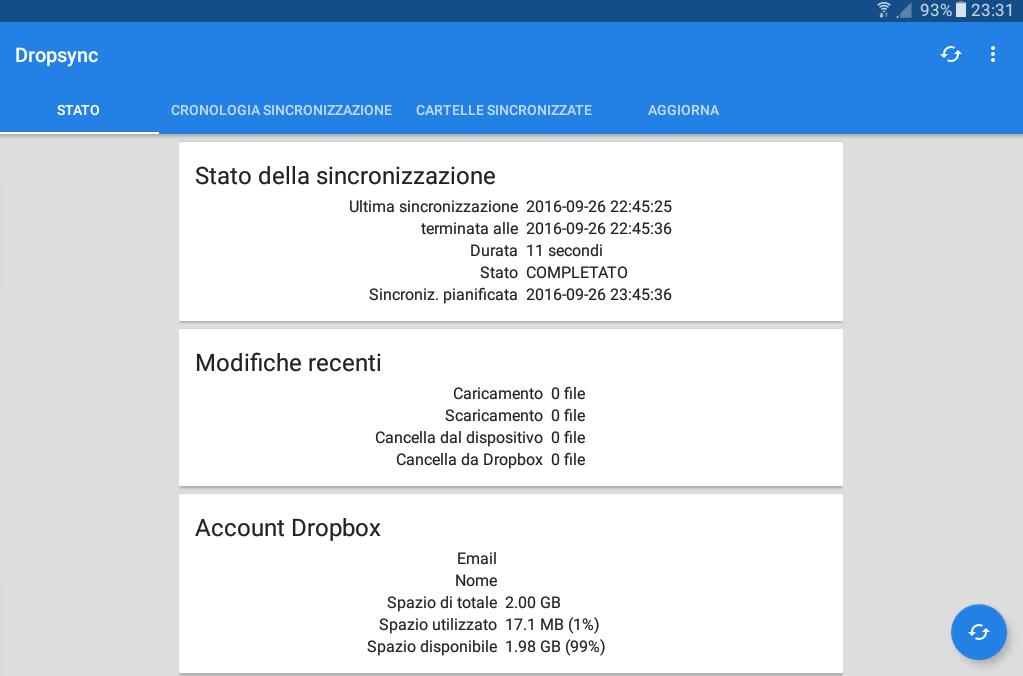 Dropsync schermata iniziale
