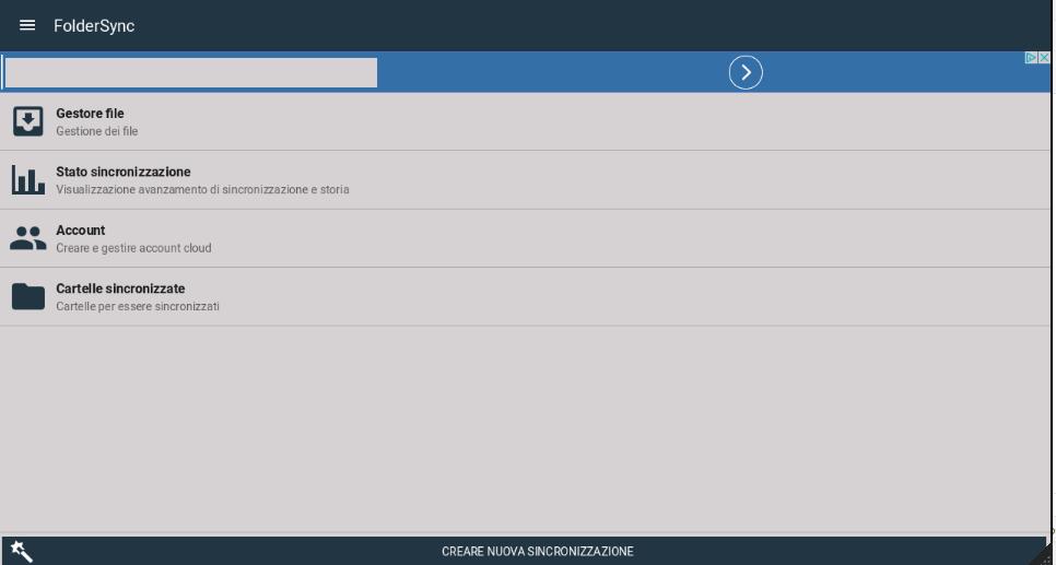 foldersync schermata principale