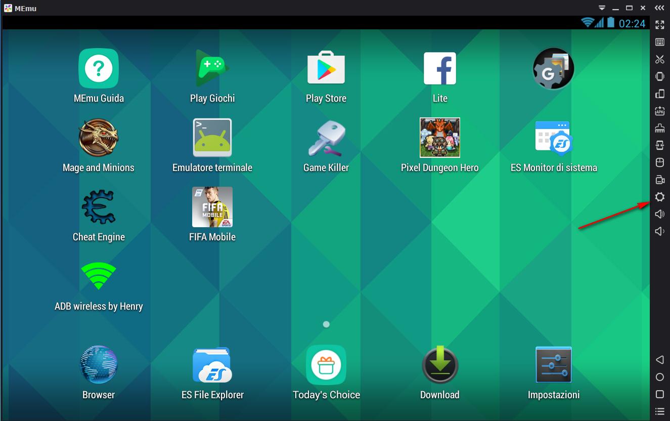 MEMU Emulatore Android per PC., impostazioni