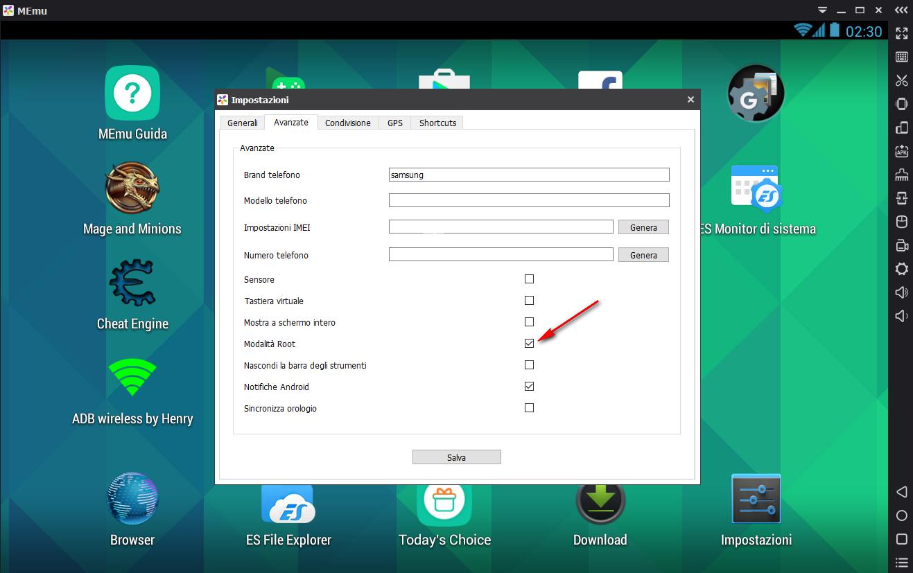 MEMU Emulatore Android per PC., impostazioni root