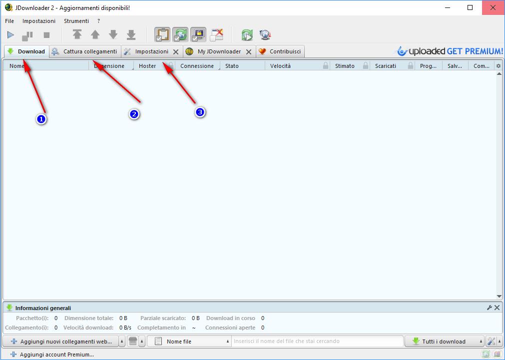 JDownloader 2 schermata principale
