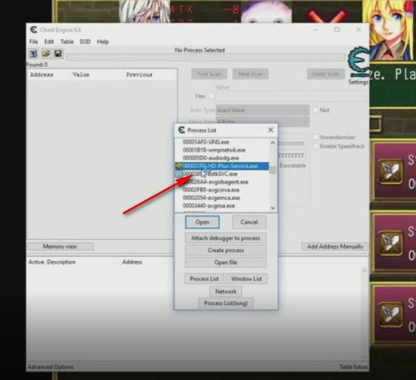 Cheat Engine Fairy Elements scelta processo