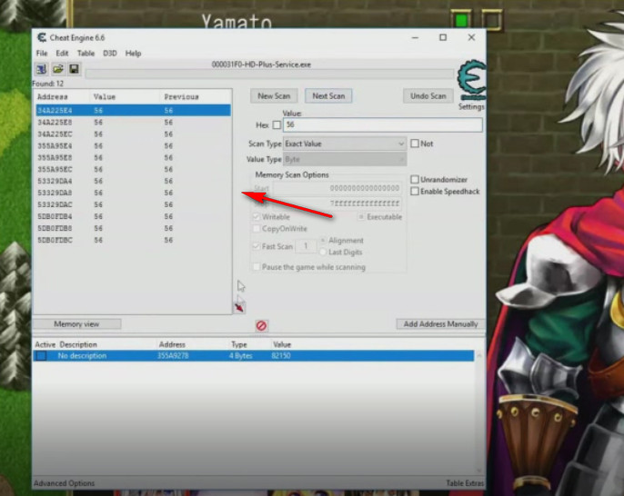 Cheat Engine Fairy Elements modifica valori esperienza