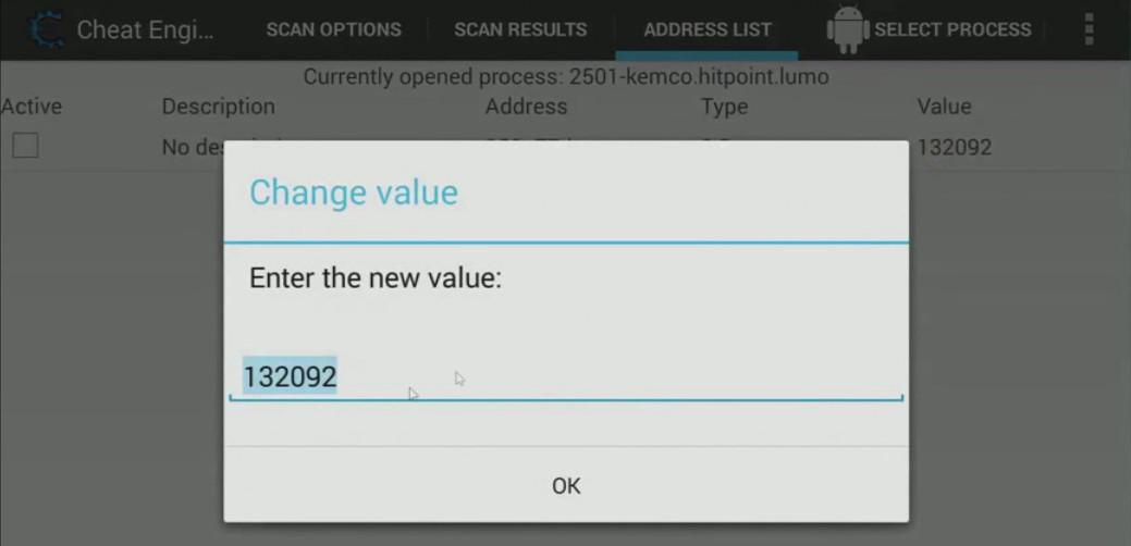 Cheat Engine app change value