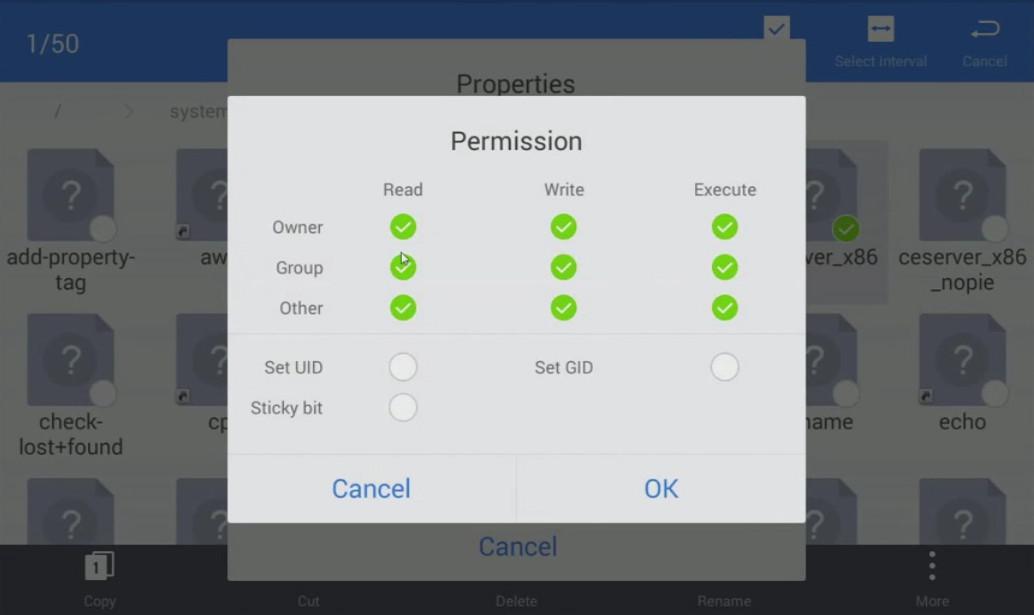 app Cheat Engine Impostazione dei permessi
