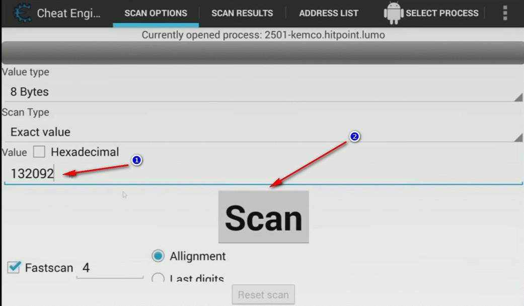 app Cheat Engine ricerca