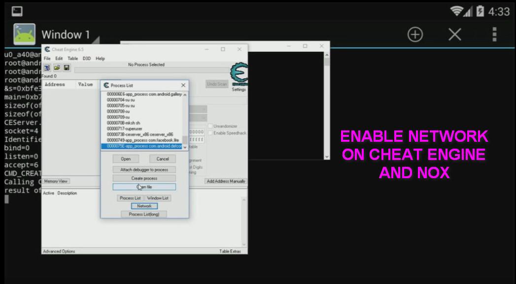 cheat engine network scan pointer nox