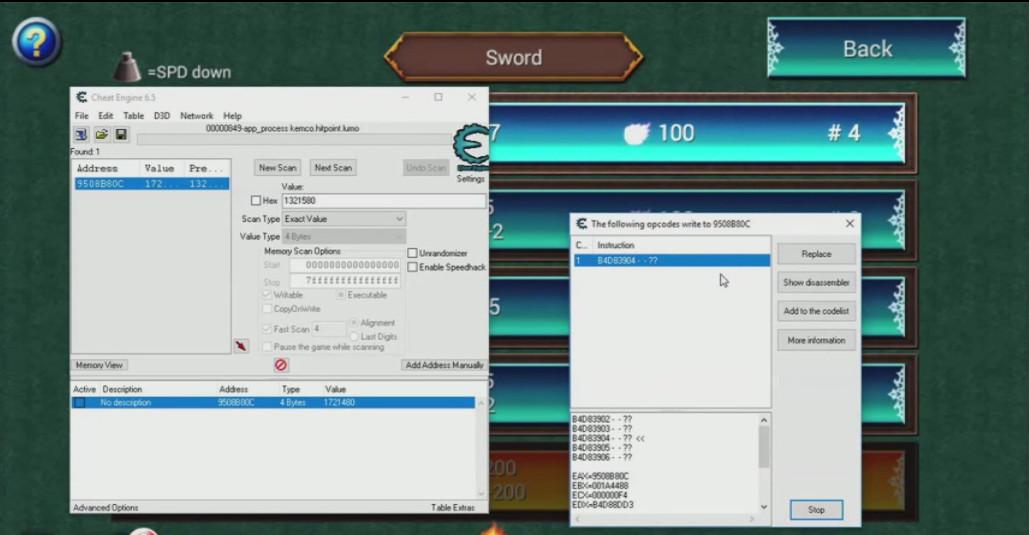 network di cheat engine su nox deassembler