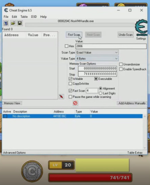 Cheat Engine Postknight - avvio ricerca denaro