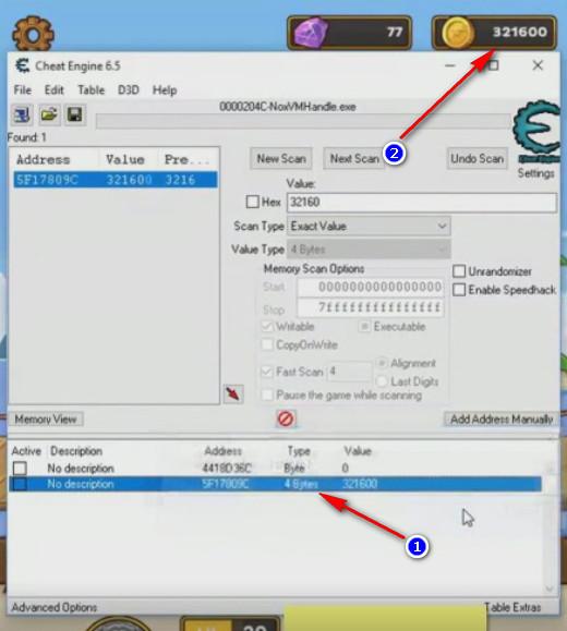 Cheat Engine Postknight - valore modificato