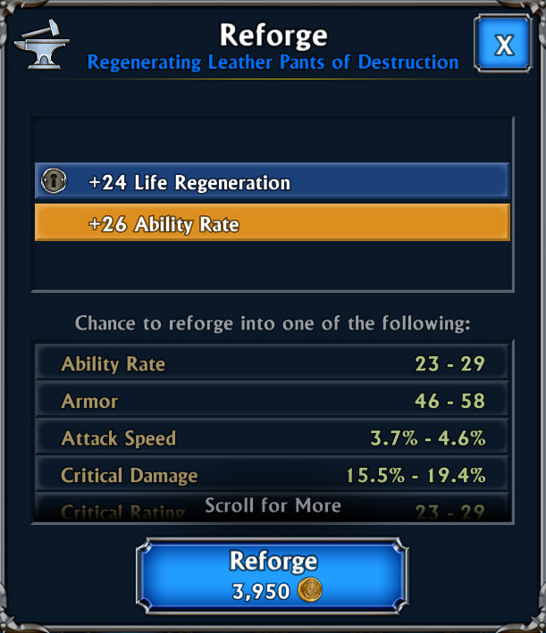 Eternium Mage and Minions - Reforge, blocco statistiche