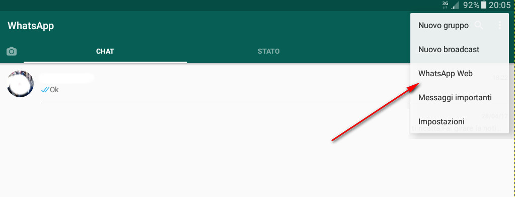WhatsApp web - Wapp web - Selection menu