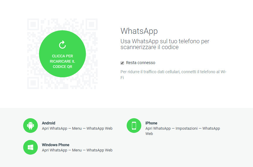 WhatsApp web - Sito lettura QRCode