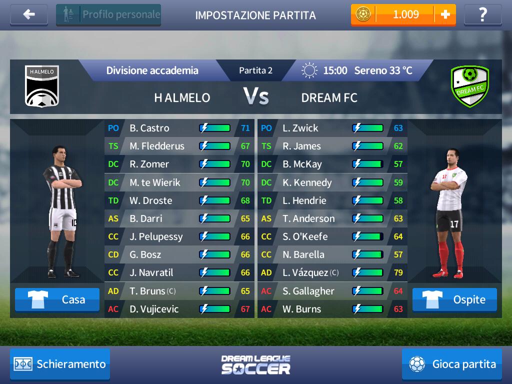 Dream League Soccer 2017 - Impostazione partita
