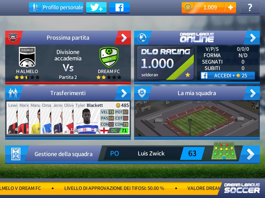 Dream League Soccer 2017 - schermata iniziale