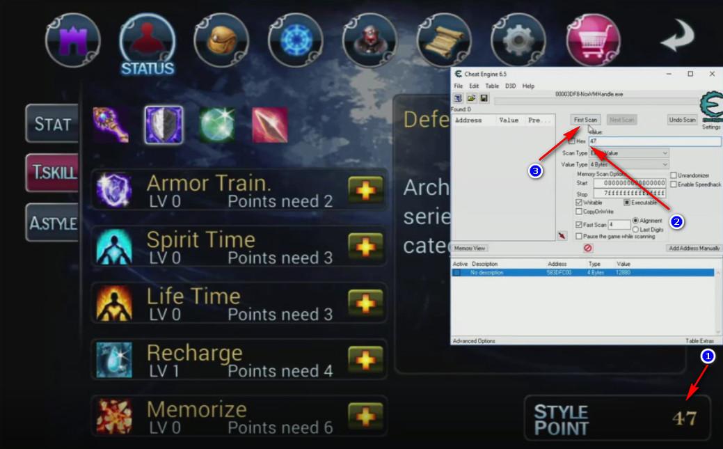 Cheat Engine SOLex Stone of life - ricerca punti abilità