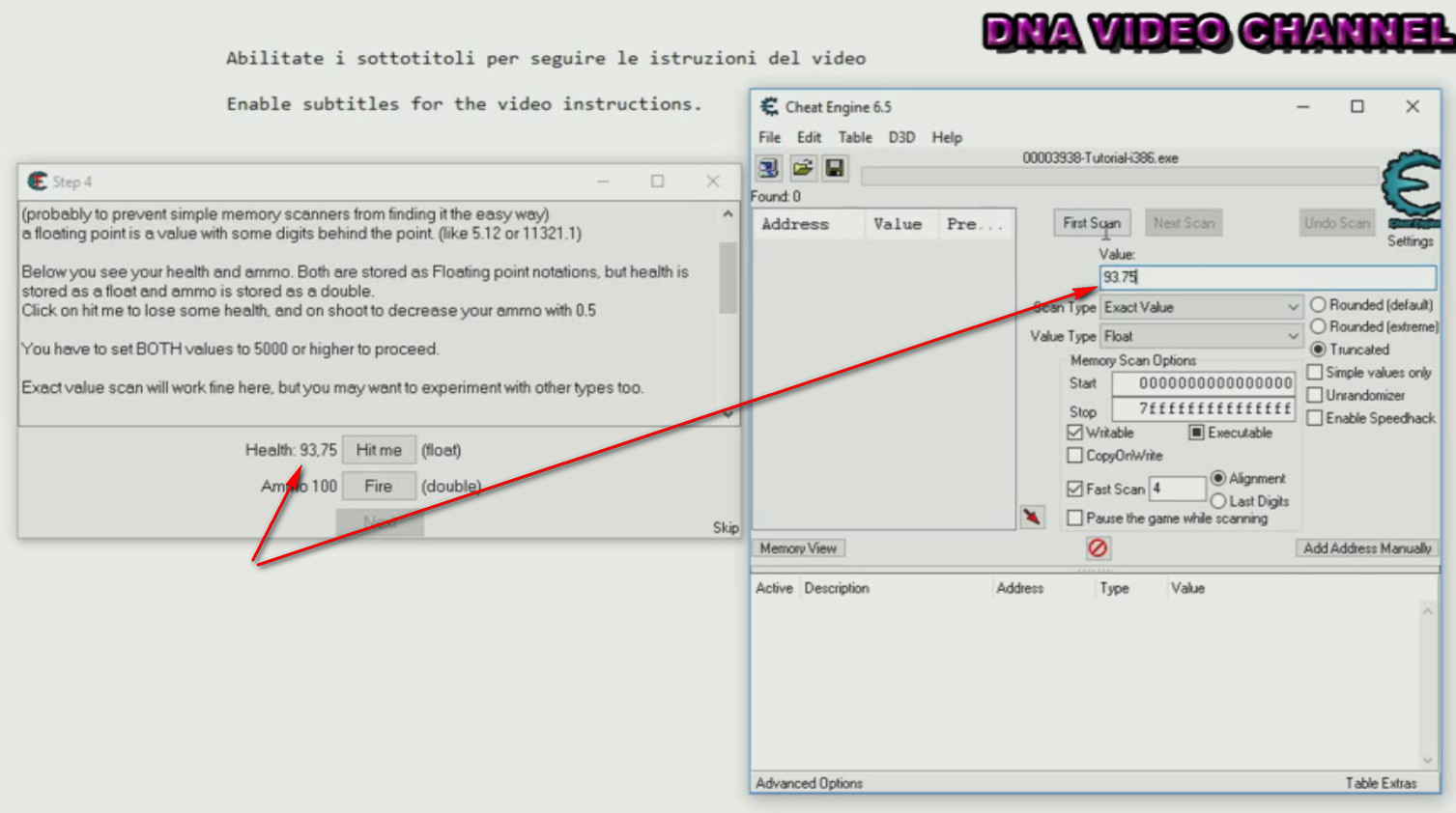 Cheat Engine Tutorial search for decimal values entering values