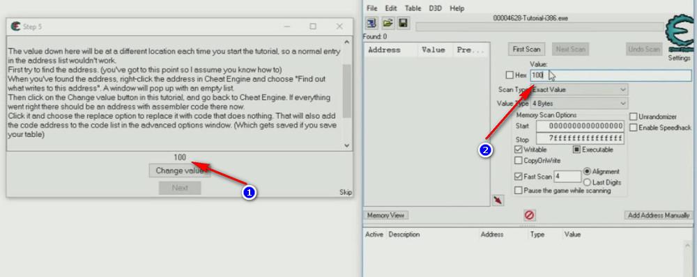 Cheat Engine Tutorial Code Finder tutorial step 5 start search