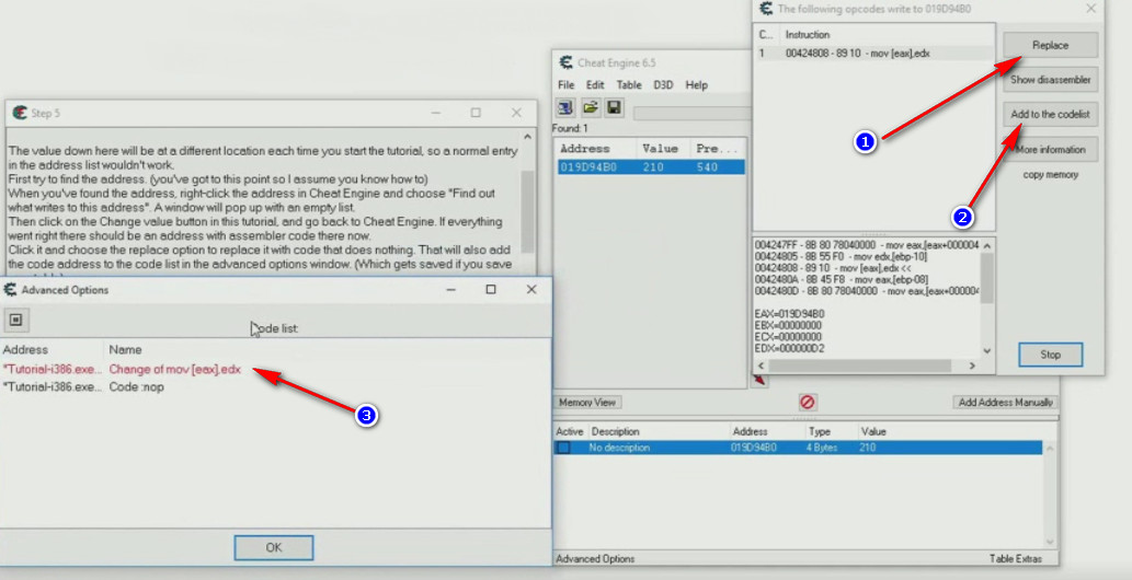 Cheat Engine Tutorial Code Finder tutorial step 5 code replacer