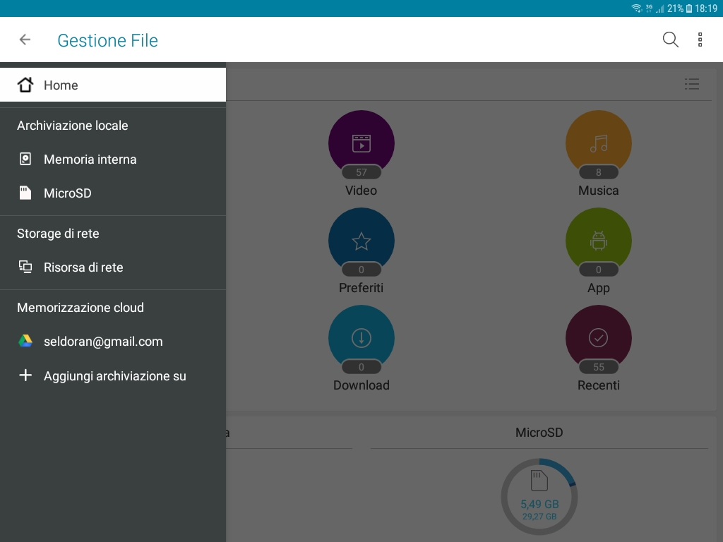 ZenUi Asus File Manager - Cloud Selection