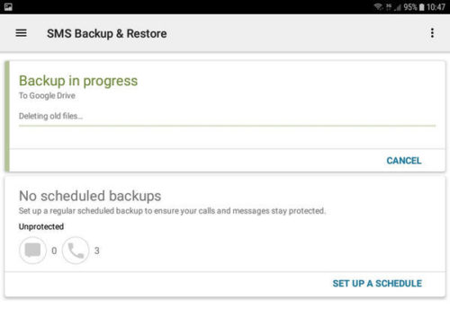 SMS Backup and Restore - Backup in progress
