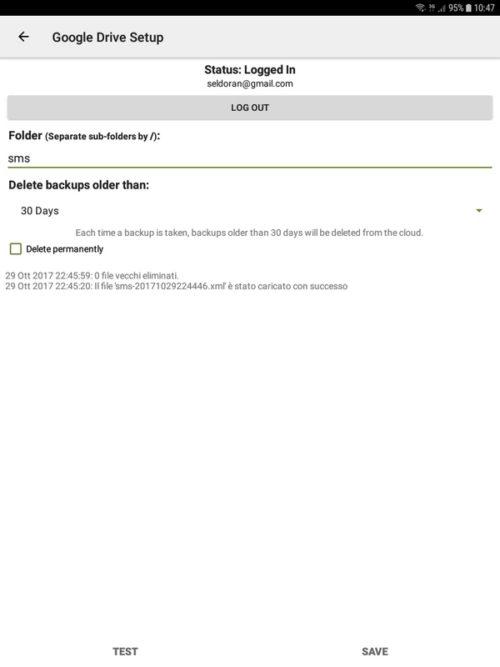 SMS Backup and Restore - Impostazione Google Drive