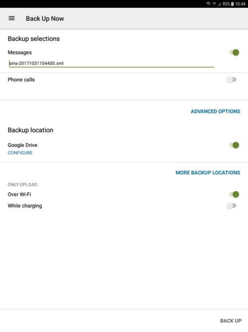 SMS Backup and Restore - Impostazione backup