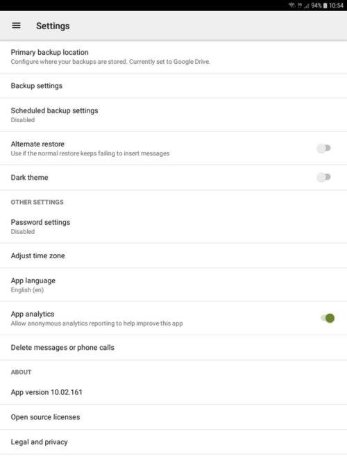 SMS Backup and Restore - Opzioni ed impostazioni