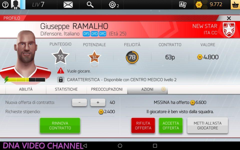 Gioco manageriale offline - Profilo Giocatore